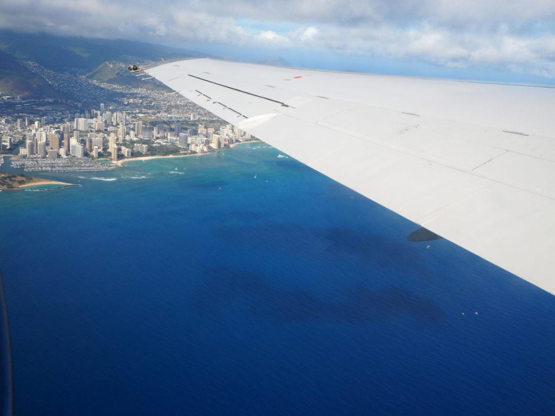 Blick auf Waikiki aus dem Flieger